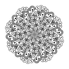 Round element for coloring book. Black and white ethnic henna pattern. Floral mandala.