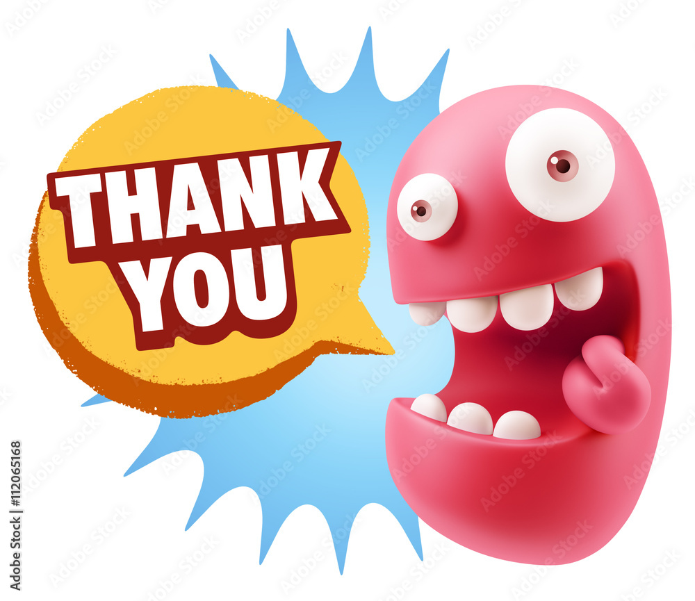 3d Illustration Laughing Character Emoji Expression saying Thank