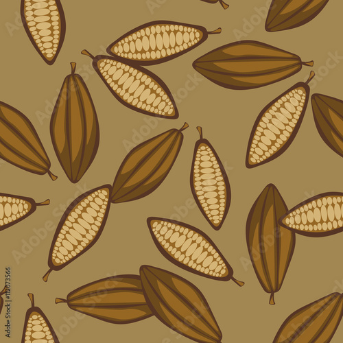 Fototapeta Cocoa beans seamless pattern. Chocolate background. Organic raw cocoa beans brown beige pattern.