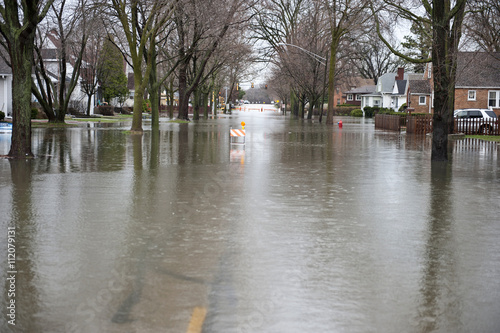 Flooded Roadway Outdoors
