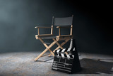 Director Chair, Movie Clapper and Megaphone in the volumetric li