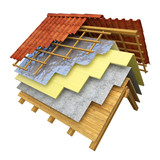 Roof thermal insulation 3D rendering - 112105964