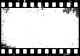 Grunge black and white film frame, vector - 112109533