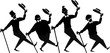 Black vector silhouette of a barbershop quartet performing a song and dance, EPS 8, no white objects