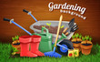 Colorful Gardening Background With Farm Tools