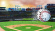 3d illustration of flying baseball leaving a trail of dust and smoke. Spinning dirty baseball, selerctive focus.