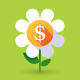 Vector flower with a dollar sign