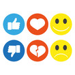 Set of smiley emoticons, thumbs up and hearts, emoji flat design
