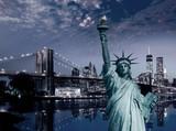 Liberty Statue and Brooklyn bridge New York