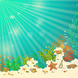 Tropical underwater ocean background.