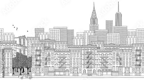 In de dag Art Studio Hand drawn seamless banner of New York City