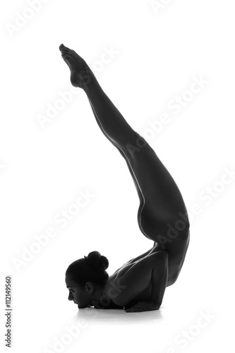 Nude yoga. Artistic photos of beautiful sexy body of young woman with perfect figure. Isolated on white background - 112149560