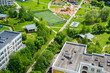 Top view of the sleeping area with playground in Moscow, Russia
