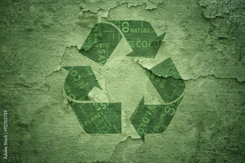 Poster Abstract grunge creative green color recycle symbol on cracked and damaged background