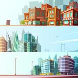 City Skyline 3 Horizontal Banners Set