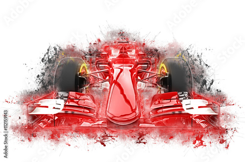 Fototapeta Red formula one car - grungy color splashes illustration