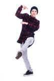 Man dancing street dance on white