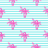 Fototapety Palm trees seamless vector pattern. Tropical beach summer pink palms pattern on blue stripes for textile fabric, cards background and scrapbooking.