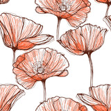 Seamless pattern with poppies. Hand-drawn floral background.