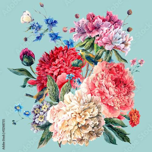 Plakat Vintage Floral Greeting Card with Blooming Peonies