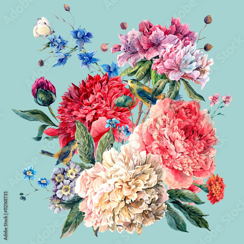 Obraz na Plexi Vintage Floral Greeting Card with Blooming Peonies