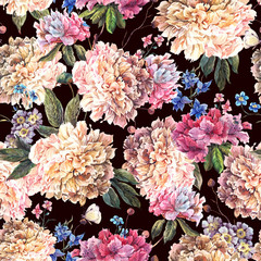 Vintage Floral Watercolor Seamless Pattern with White Peonies