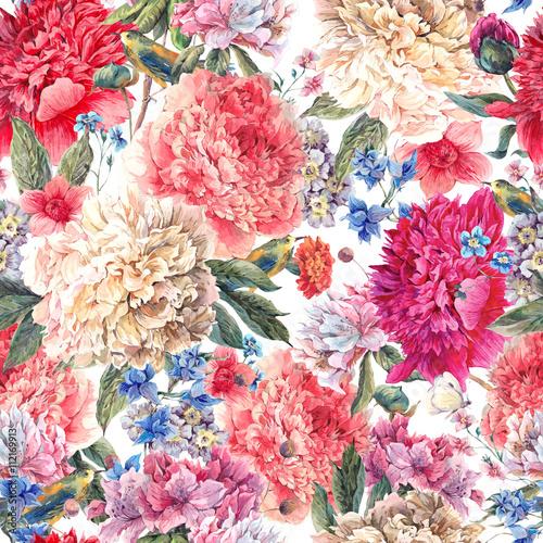 Fototapeta Floral peonies seamless watercolor pattern