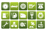 Flat car parts, services and characteristics icons - vector icon set