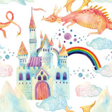 Watercolor fairy tale seamless pattern with cute dragon, magic castle, mountains and fairy clouds
