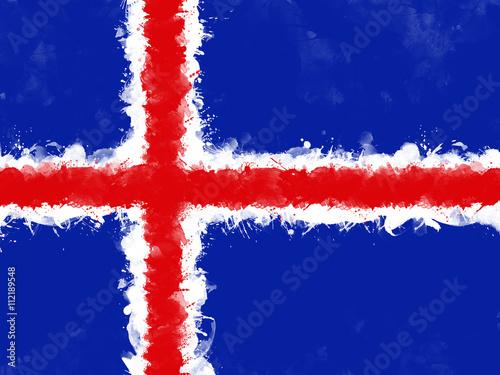 Poster Flag of Iceland , grunge style