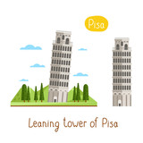 Leaning tower of Pisa. Famous world landmarks icon concept. Journey around the world. Tourism and vacation theme. Modern design flat vector illustration.