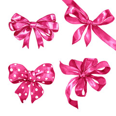 Watercolor pink bows set