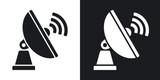 Vector Satellite Antenna icon. Two-tone version on black and white background