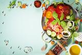 Fresh salad on blue background