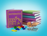 school books on mathematics 3d render on gradient
