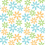 Seamless pattern colorfull shells mussels flowers