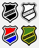 Vector Police Badges Isolated Illustration