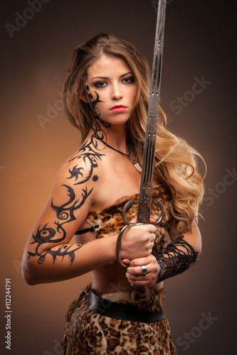 Poster Beautiful woman with sword