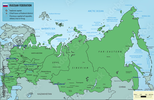 Russian Federation map with selectable territories. Vector Poster