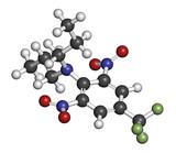 Trifluralin herbicide molecule. 3D rendering.