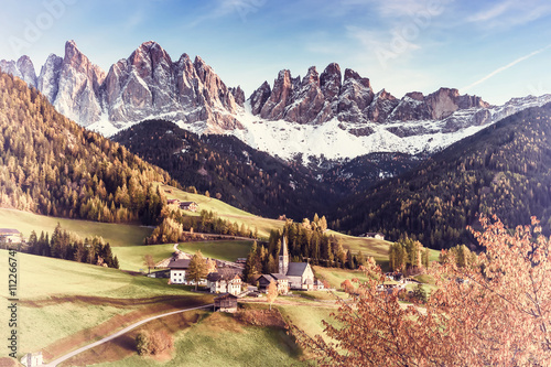 Autumn Landscape in Dolomites