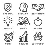 Company Core Values Outline Icons for Websites or Infographics Black and White