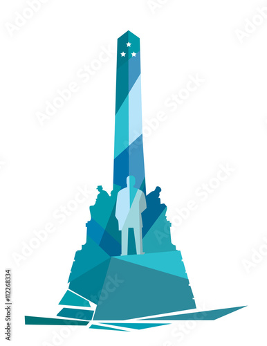 Rizal Monument Geometric Illustration. Rizal monument is a memorial in Rizal Park in Manila, Philippines built to commemorate the executed Filipino nationalist, Jose Rizal.