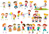 Fototapety Children playing different games and activities