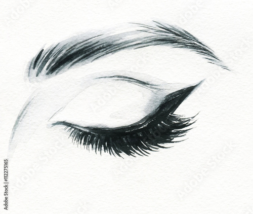 Fotobehang Anna I. Woman eye . Hand painted fashion illustration