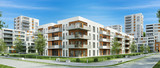Fototapety Modern residential building and street