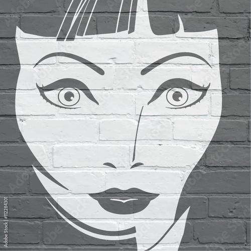 Art urbain, visage de femme Poster
