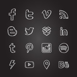 Hand drawn vector illustration set of social media sign icon and symbol