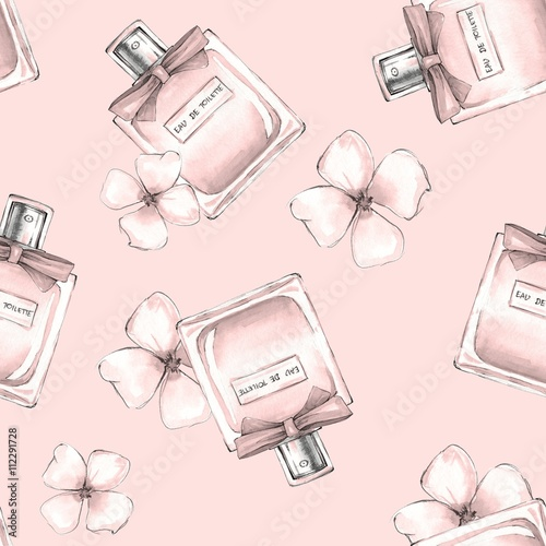 Materiał do szycia Bottle of perfume and flowers. Seamless pattern 3