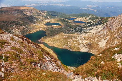 Poster Five of the Seven Rila Mountain Lakes. Horizontal view